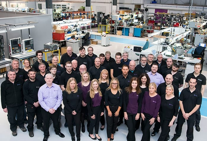 An overhead shot of the Kontroltek South Wales workshop team.